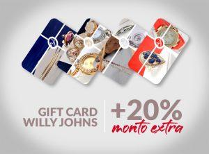 Gift cards Willy Jhons para canjear joyas y accesorios con 20% de monto extra