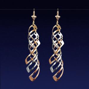 Aros enchapados en oro Brilho joias tres tonos