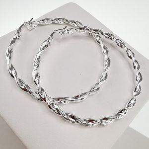 Aros de plata 925 Brilho Silver con diseño y broche italiano