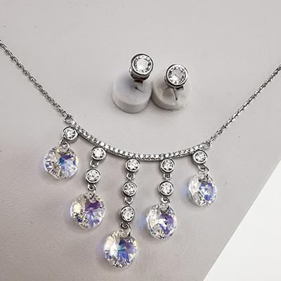 Conjunto de plata 925 Brilho Silver con piedras de microcircón y cristal swarovski