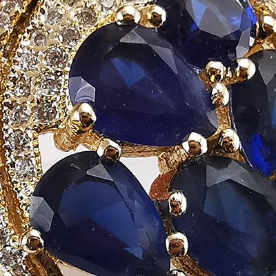 Anillo enchapado en oro Brilho Joias con circón y microcircón detalle 2