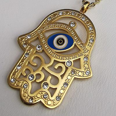 Conjunto de acero quirúrgico 316 Brilho Steel con circones y ojo turco en enchapado dorado detalle