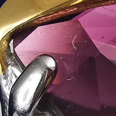 Anillo de acero quirúrgico 316 Brilho Steel con piedra de circón detalle