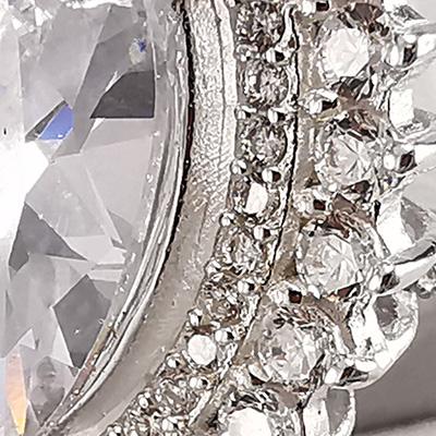 Anillo Brilho Silver de plata 925 con piedras de circón y microcircón detalle