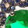Anillo de plata 925 Brilho Silver con piedra de circón verde en forma de gota y microcircones azules detalle 2