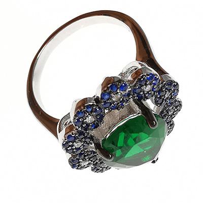 Anillo de plata 925 Brilho Silver con piedra de circón verde en forma de gota y microcircones azules detalle