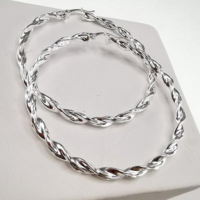 Aros de plata 925 Brilho Silver con diseño y broche italiano detalle 3
