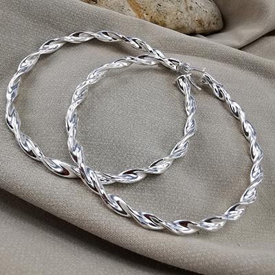 Aros de plata 925 Brilho Silver con diseño y broche italiano detalle 2