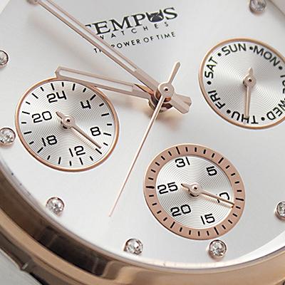 Reloj Tempus Watches para hombre de acero en dos tonos con fondo plateado detalle 2