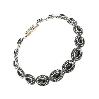 Pulsera de plata 925 Brilho Silver con piedras naturales de onix y marquesita
