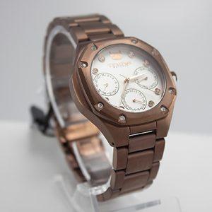 Reloj Tempus Watches dama multifuncional de acero café y fondo blanco