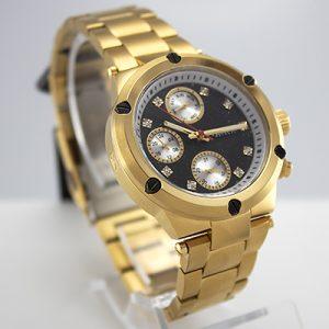 Reloj Tempus Watches dama multifunción de acero dorado con fondo negro