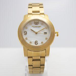 Reloj Tempus Watches dama con pulso de acero dorado y fondo nacarado