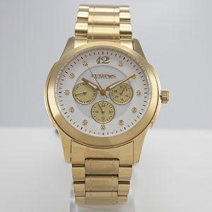Reloj Tempus Watches para dama con pulso dorado y fondo nacarado blanco