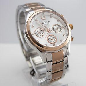 Reloj Tempus Watches para hombre de acero en dos tonos con fondo plateado
