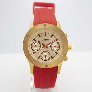 Reloj Tempus Watches multifunción para damas con correa roja
