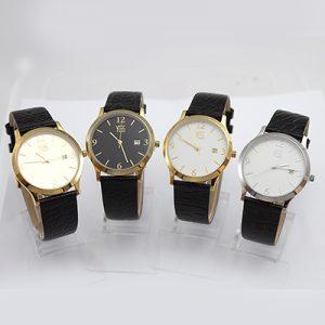 Reloj Yess Watches hombre correa de cuero casual plateado, dorado, amarillo y negro