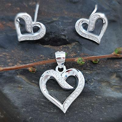 Juego de plata Corazón con microcircones