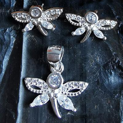 Juego de plata mariposas con microcircones