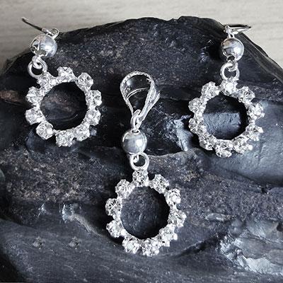 Juego de plata Redondelas con piedras de microcircón