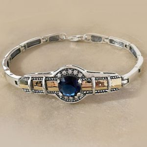 Pulsera de plata envejecida laminado de oro circones azules