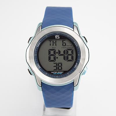 Reloj Yess Watches digital para hombre con pulso de silicona azul