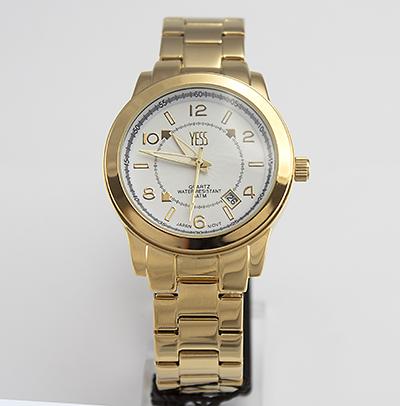 Reloj Yess Watches para hombre modelo metálico dorado