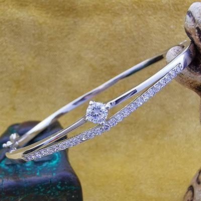 Pulsera de plata brazalete con circones y microcircones