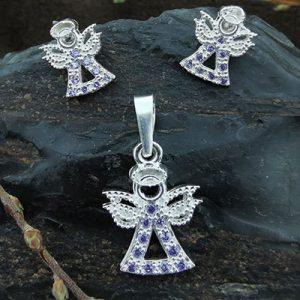 Conjunto aros y colgante ángel de plata
