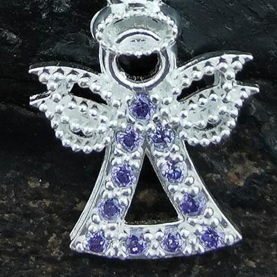 Conjunto aros y colgante ángel de plata detalle