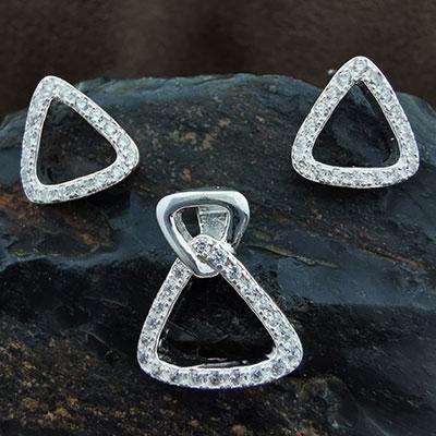 Conjunto aros y colgantes triángulos de plata