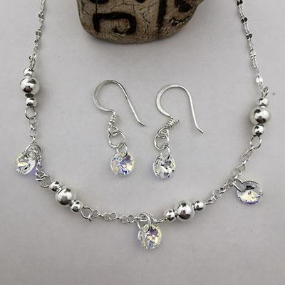 Conjunto collar y aros de plata