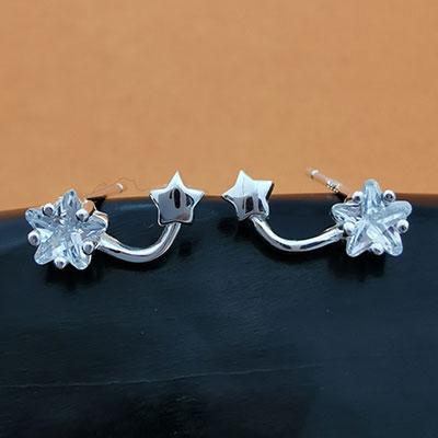 Aros de plata estrella con circón blanco