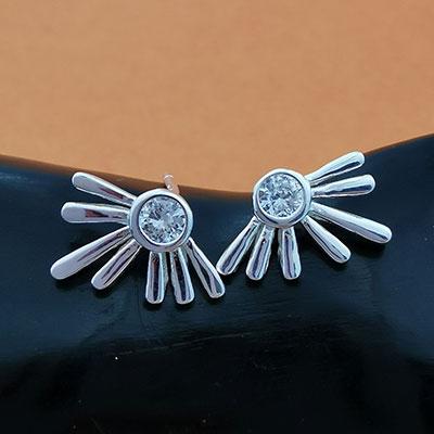 Aros de plata italiana con circón blanco