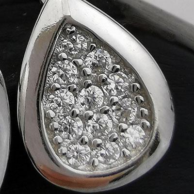 Aros de plata gotas con microcircones detalle