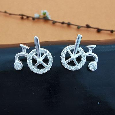 Aros de plata bicicletas con circones