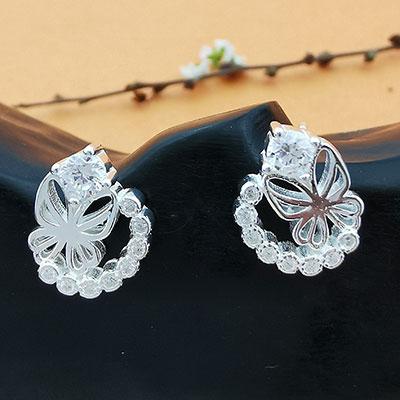 Aros de plata mariposas con circones