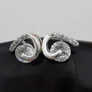 Aros de plata curvos con circones