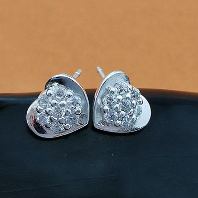 Aros de plata corazones con circones