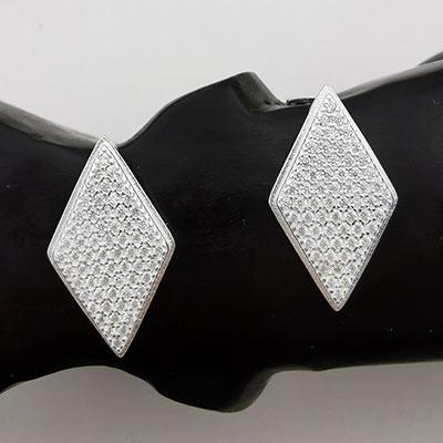 Aros de plata rombos con circones