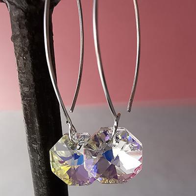Aros de plata con cristales Swarovski