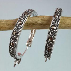 Argollas de plata con marquesita