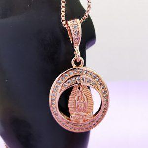 Collar de la Virgen de Guadalupe con microcircón