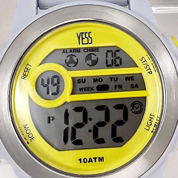 Reloj Yess digital gris con amarillo detalle 2