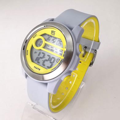 Reloj Yess digital gris con amarillo